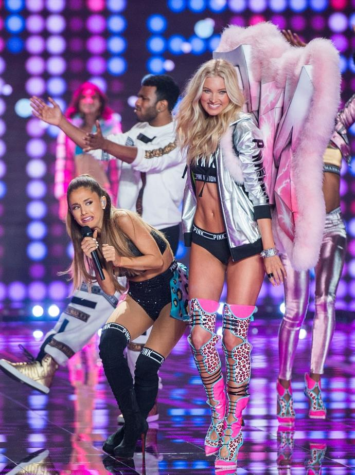 **Ariana Grande and Elsa Hosk, 2014** <br><br> Remember when Elsa Hosk whacked Ariana Grande mid-performance? Yes, yes you do, because it was hilarious...and inspired some truly fabulous memes.