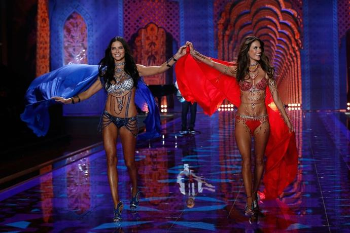 **Adriana Lima and Alessandra Ambrosio, 2014** <br><br> What's better than one fantasy bra? TWO FANTASY BRAS!
