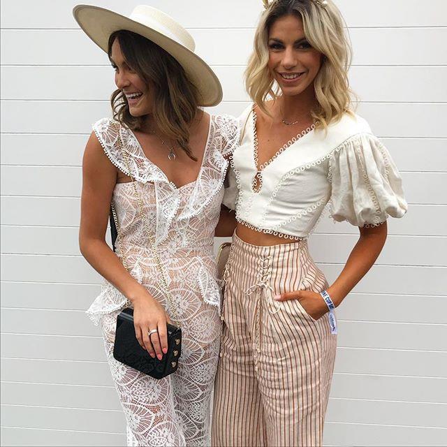 "Laura Byrne and Alix McDermott from *The Bachelor* 2017.  Image: [@ladyandacat](https://www.instagram.com/p/BbLOjnfAiDm/?taken-by=ladyandacat|target=""_blank"")"