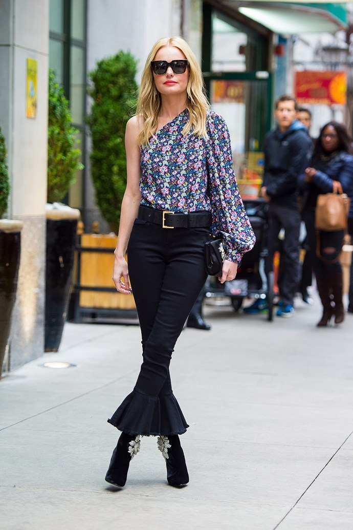 Going a little bit more rock star, Bosworth threw together some Mother jeans, a floral one-shouldered top and a pair of embellished Roger Vivier boots.