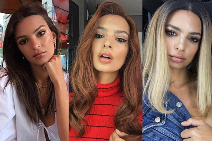 Although she hasn't braved any permanent colour transformations just yet, it hasn't stopped Emily Ratajkowski from sharing what she'd potentially look like with either peroxide blonde or raven red locks.
