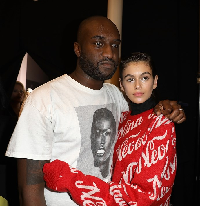 Abloh and Kaia Gerber backstage at his ss18 show.
