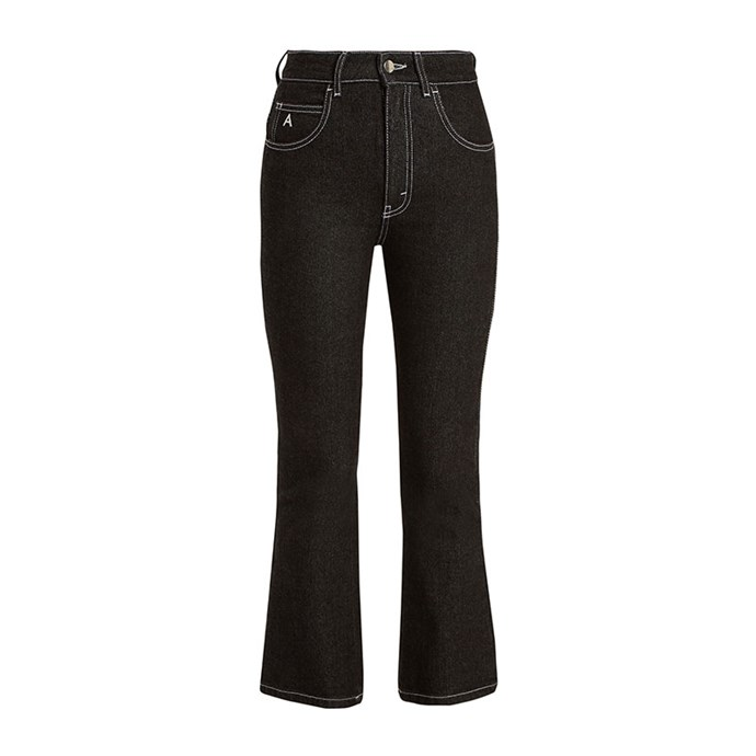 "Jeans by Attico, $355 at [MATCHESFASHION.COM](https://www.matchesfashion.com/au/products/Attico-Blanca-high-rise-kick-flare-cropped-jeans-1172327|target=""_blank""