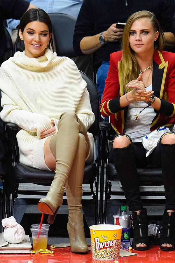 With Cara Delevingne at the Los Angeles Lakers vs. Los Angeles Clippers game. January 7th, 2015.