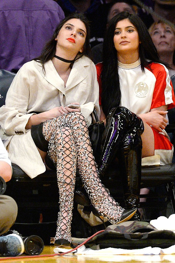 With Kylie Jenner at the Los Angeles Lakers vs. Sacramento Kings game. March 15th, 2016.