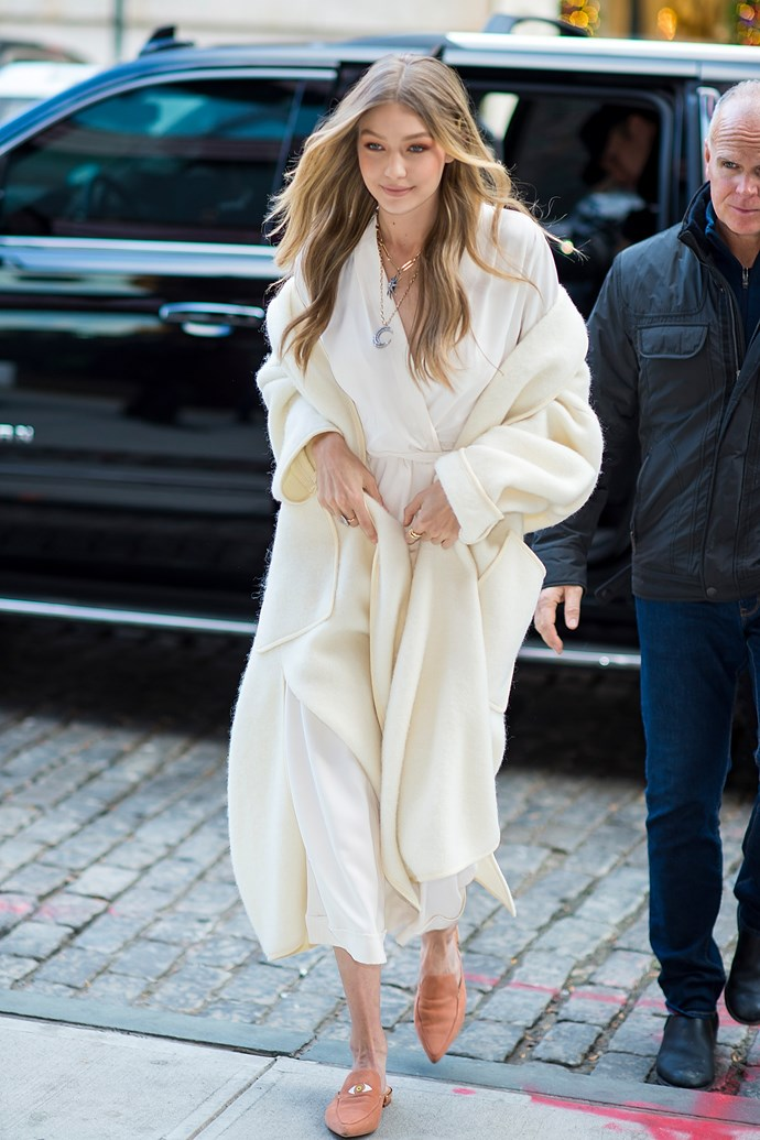 Gigi in the Stuart Weitzman Eyelove mule while out in New York