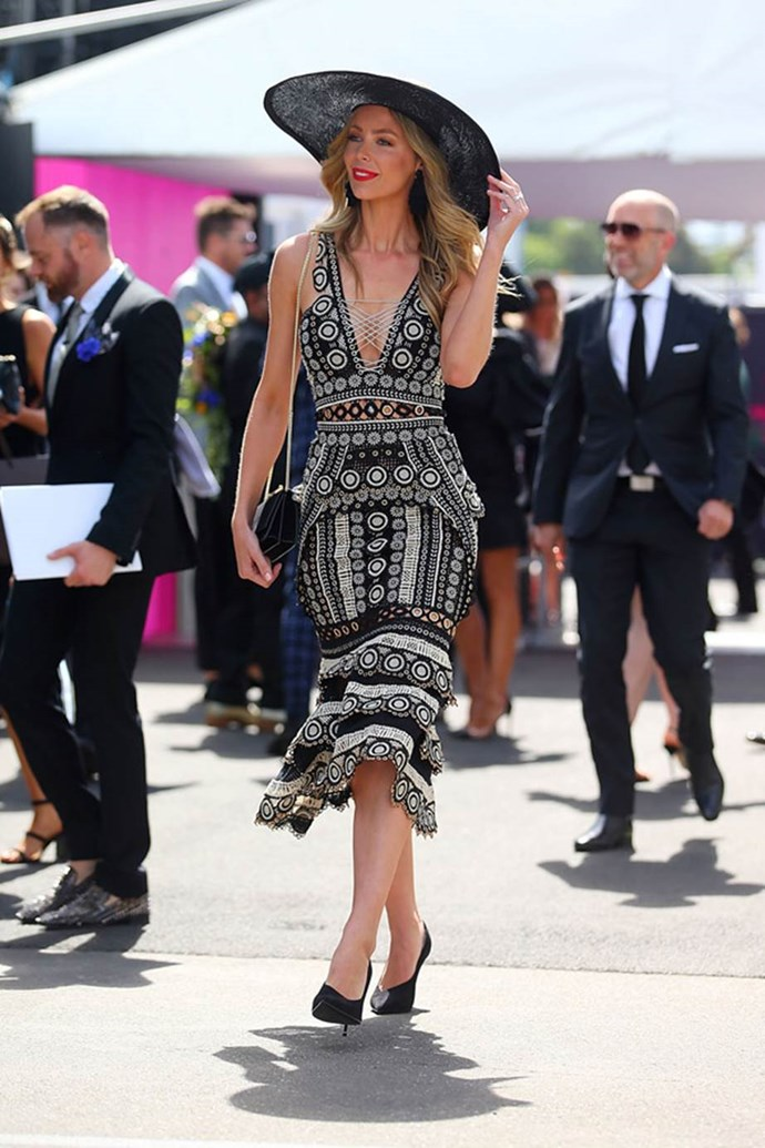 Jennifer Hawkins arrives at the MYER Marquee on AAMI Victoria Derby Day.