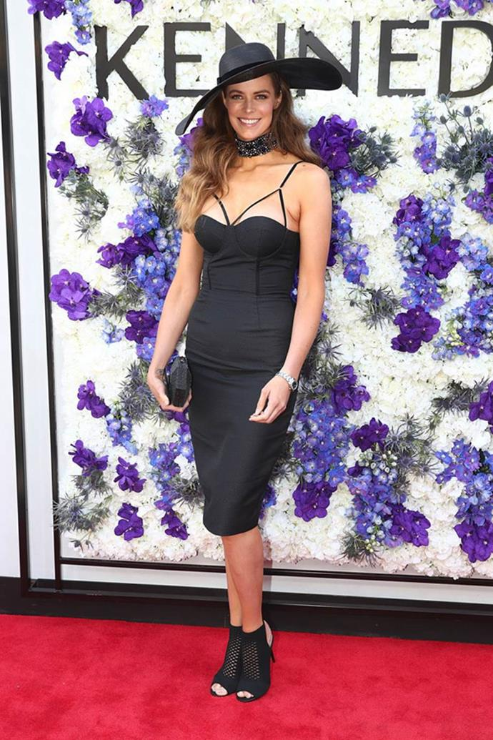 Robyn Lawley poses at the Kennedy Marquee on AAMI Victoria Derby Day.