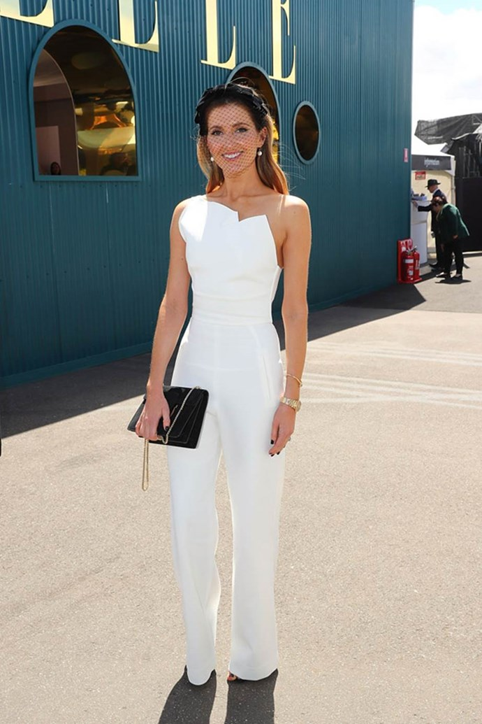 Kate Waterhouse poses at the ELLE Marquee on AAMI Victoria Derby Day.