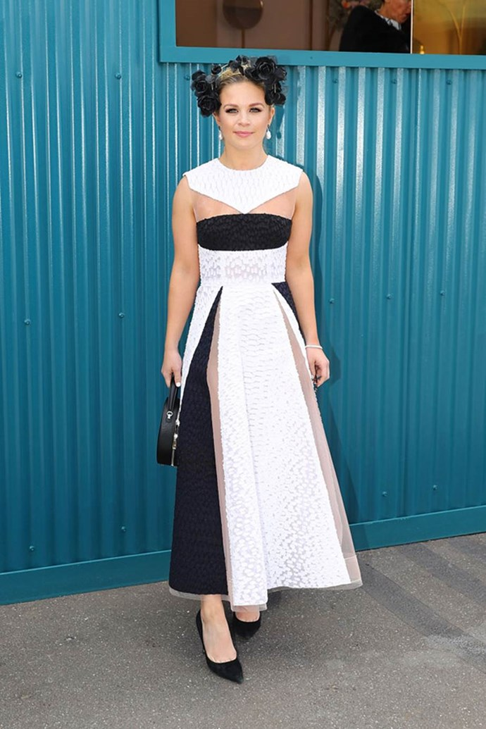 Emma Freedman poses at the ELLE Marquee on AAMI Victoria Derby Day.