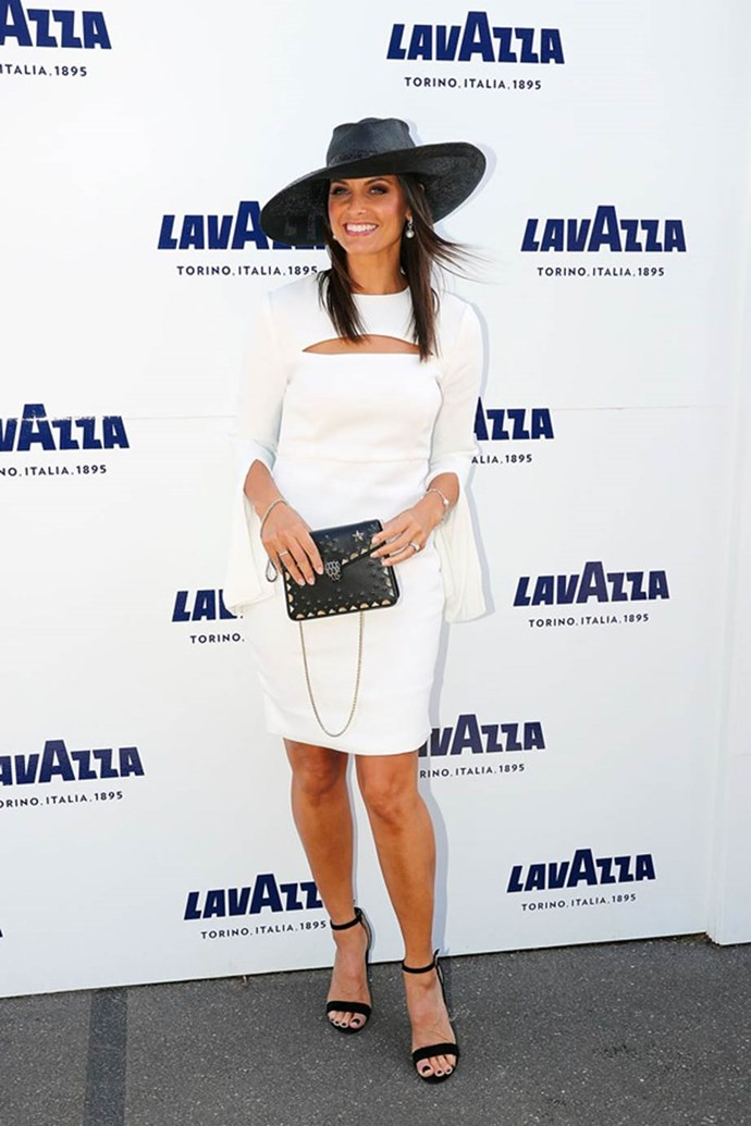 Zoe Ventura poses at the Lavazza Marquee on AAMI Victoria Derby Day.