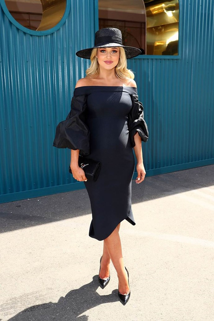 Jessie Habermann poses at the ELLE Marquee on AAMI Victoria Derby Day.