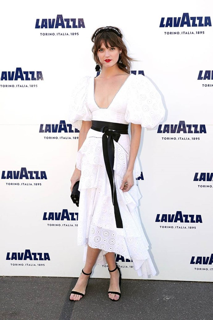 Montana Cox poses at the Lavazza Marquee on AAMI Victoria Derby Day.