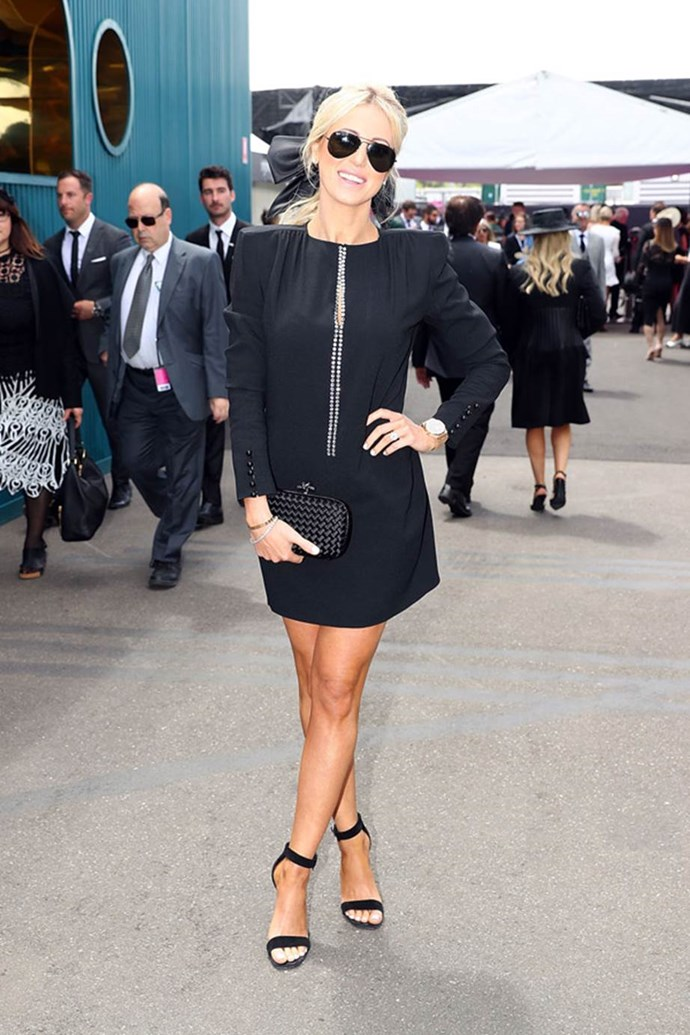 Roxy Jacenko poses at the ELLE Marquee on AAMI Victoria Derby Day.