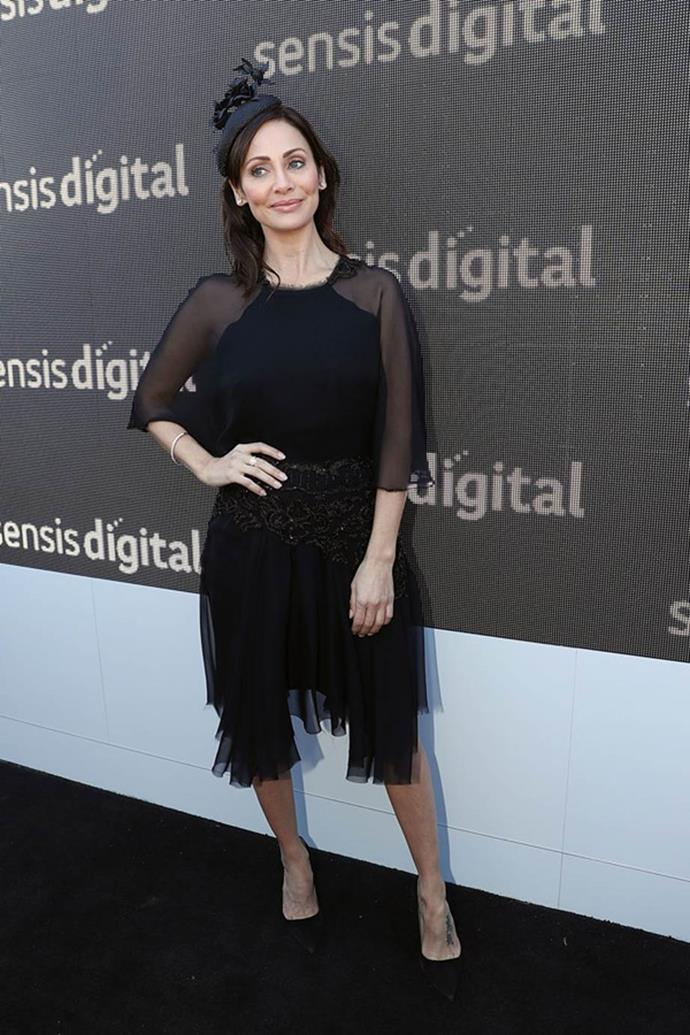 Natalie Imbruglia poses at the Sensis Marquee on AAMI Victoria Derby Day.
