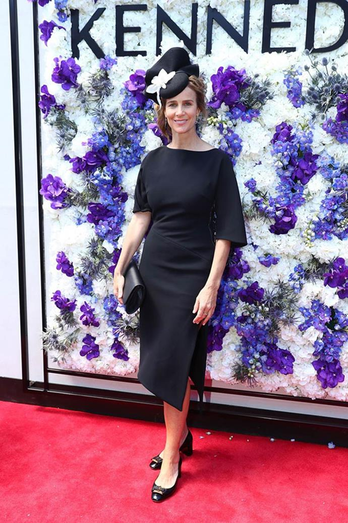 Rachel Griffiths poses at the Kennedy Marquee on AAMI Victoria Derby Day.