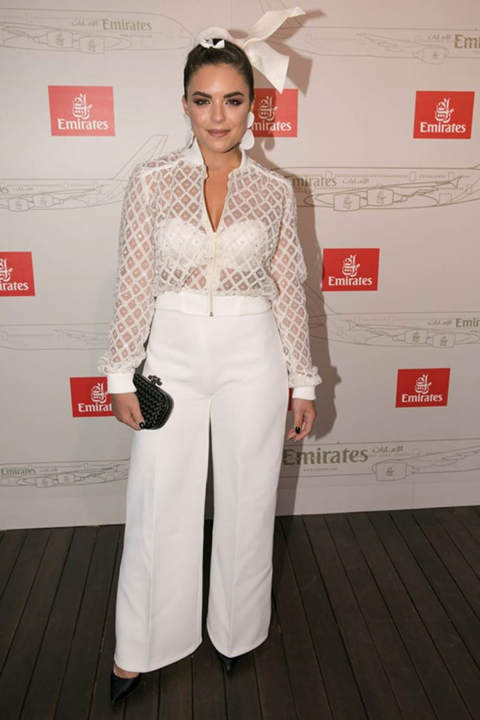 Olympia Valance at the Emirates Marquee at AAMI Victoria Derby Day.