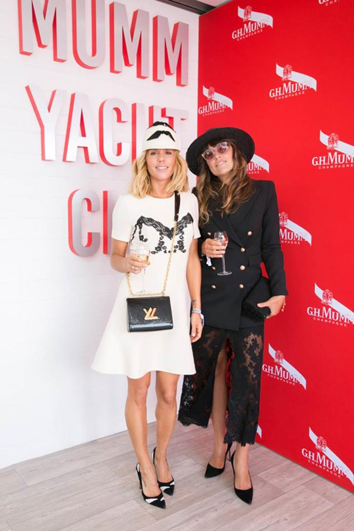 Pip Edwards and Claire Tregoning at the Maison Mumm Marquee on AAMI Victoria Derby Day.