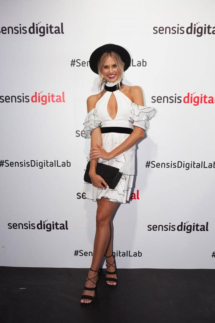 Natalie Roser at the Sensis Digital Marquee on AAMI Victoria Derby Day.