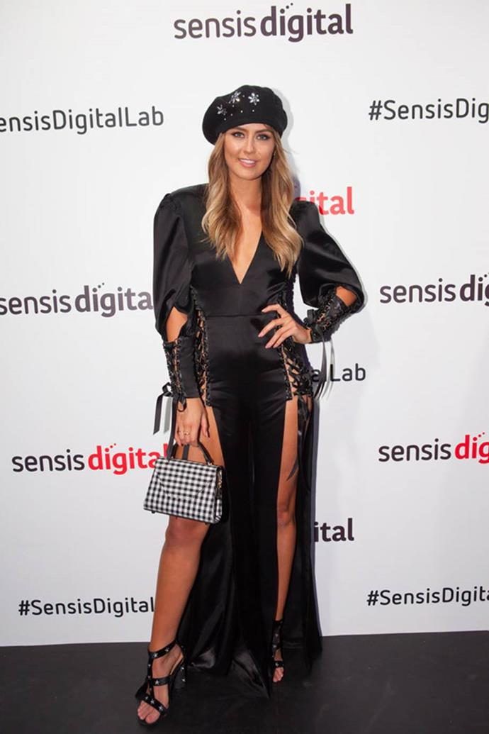 Steph- Claire Smith at the Sensis Digital Marquee on AAMI Victoria Derby Day.