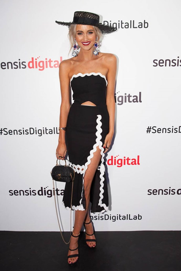 Sarah Czarnuch at the Sensis Digital Marquee on AAMI Victoria Derby Day.