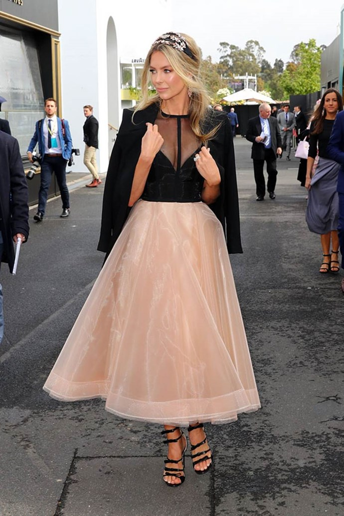Jennifer Hawkins in Alex Perry and Ezara/K millinery at Emirates Melbourne Cup Day.
