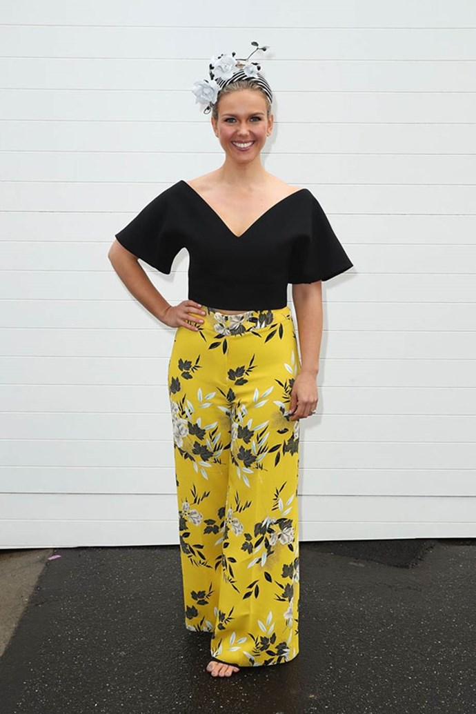Edwina Bartholomew in a Maticevski top, Cue pants and Millinery Jill headpiece at Emirates Melbourne Cup Day.