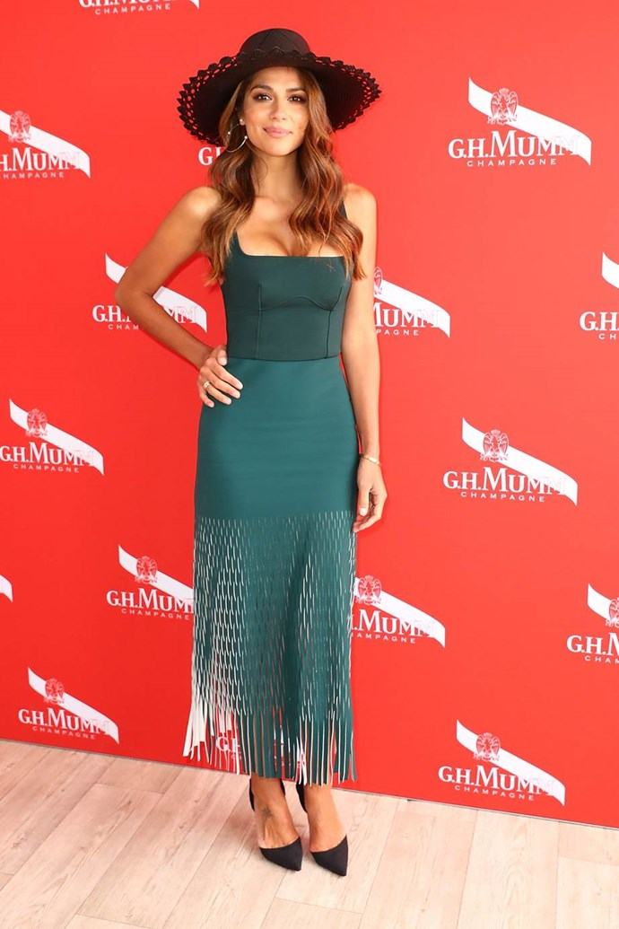 Mel McLaughlin in Dion Lee at Emirates Melbourne Cup Day.