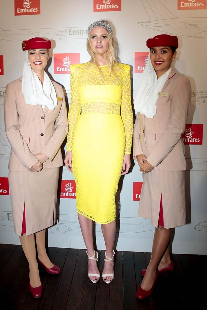 Lara Stone in Alex Perry at Emirates Melbourne Cup Day.