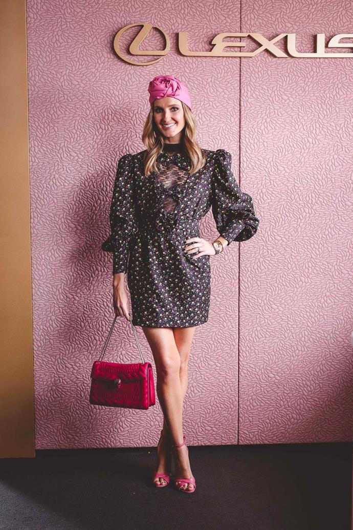 Kate Waterhouse in Alessandra Rich and Gucci accessories at Emirates Melbourne Cup Day.