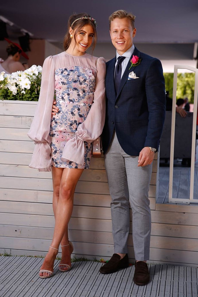 Rebecca Harding, in a We Are Kindred dress, and Dalton Graham at Kennedy Oaks Day.