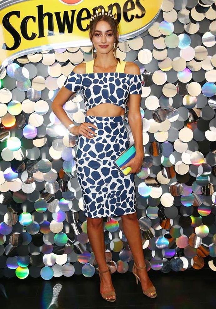 Sarah Tilleke poses at the Schweppes Marquee on Emirates Stakes Day.