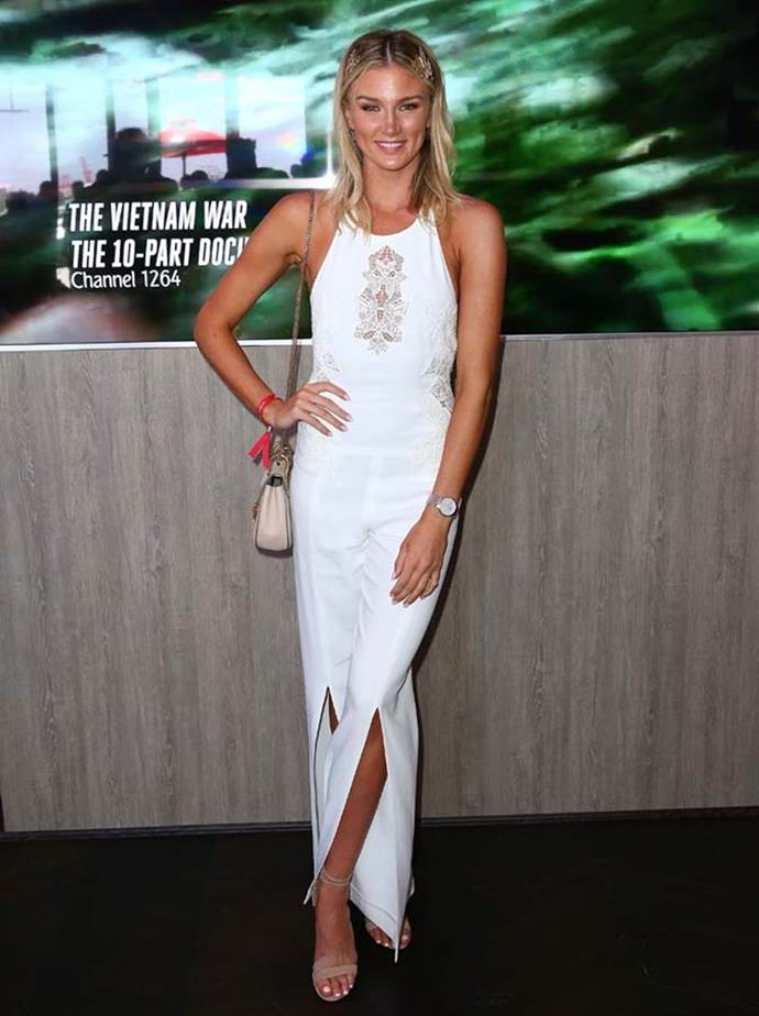 Amy Pejkovic poses at the Emirates Marquee on Emirates Stakes Day.