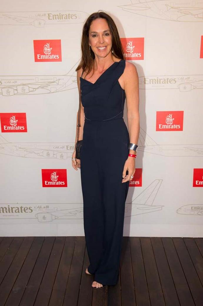 Janine Allis poses at the Emirates Marquee on Emirates Stakes Day.