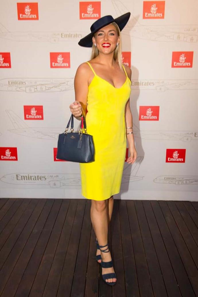 Greer Gardiner at the Emirates Marquee, Emirates Stakes Day.