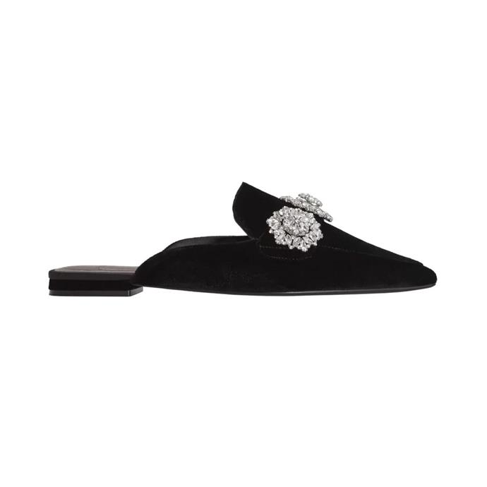 "Loafers, $99.95, [MNG](https://shop.mango.com/au/women/shoes-flat-shoes/crystal-slingback-shoes_23050438.html?c=99&n=1&s=accesorios.accesorio;42,342,442|target=""_blank""