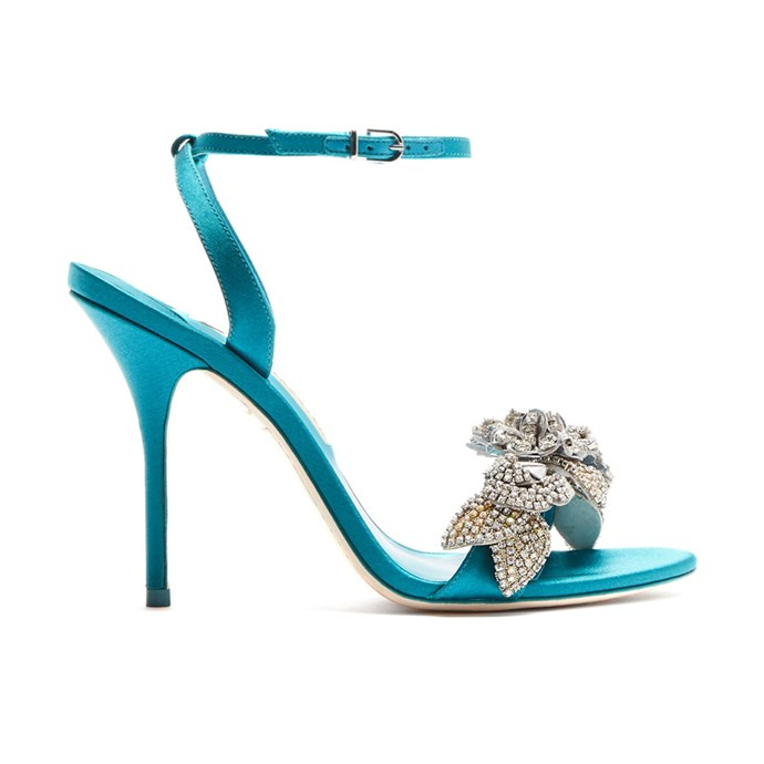 "Sandals, $1,214, [Sophia Webster at matchesfashion.com](https://www.matchesfashion.com/products/Sophia-Webster-Lilico-crystal-embellished-satin-sandals-1175997|target=""_blank""
