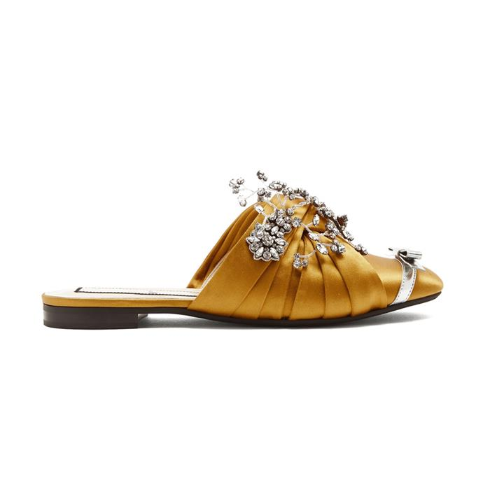 "Slides, $1,041, [No. 21 at matchesfashion.com](https://www.matchesfashion.com/products/No-21-Crystal-embellished-satin-slides-1168647|target=""_blank""