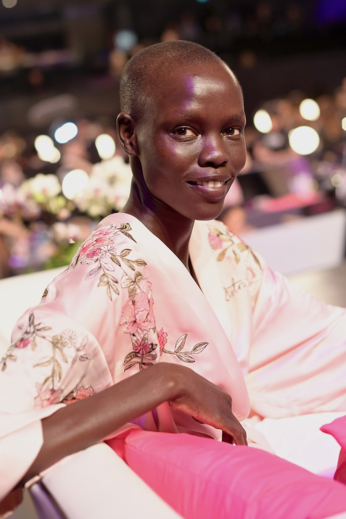 Grace Bol backstage at the 2017 Victoria's Secret Fashion Show.