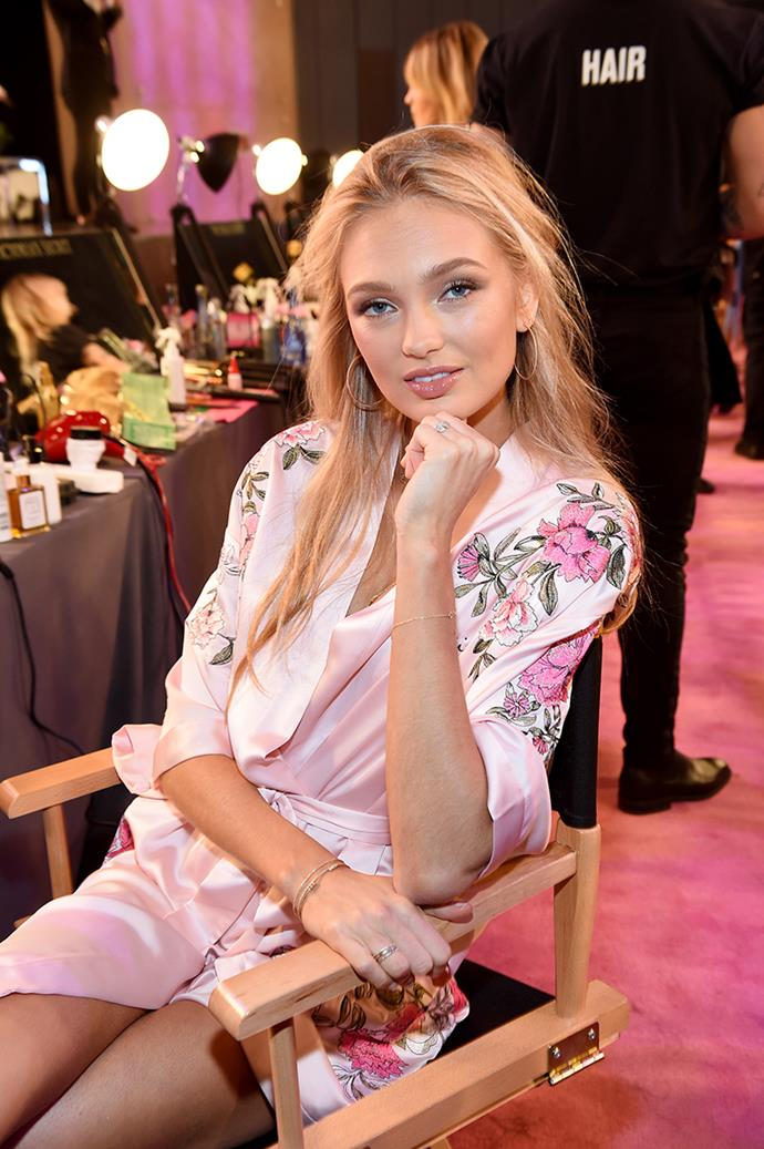 Romee Strijd backstage at the 2017 Victoria's Secret Fashion Show.