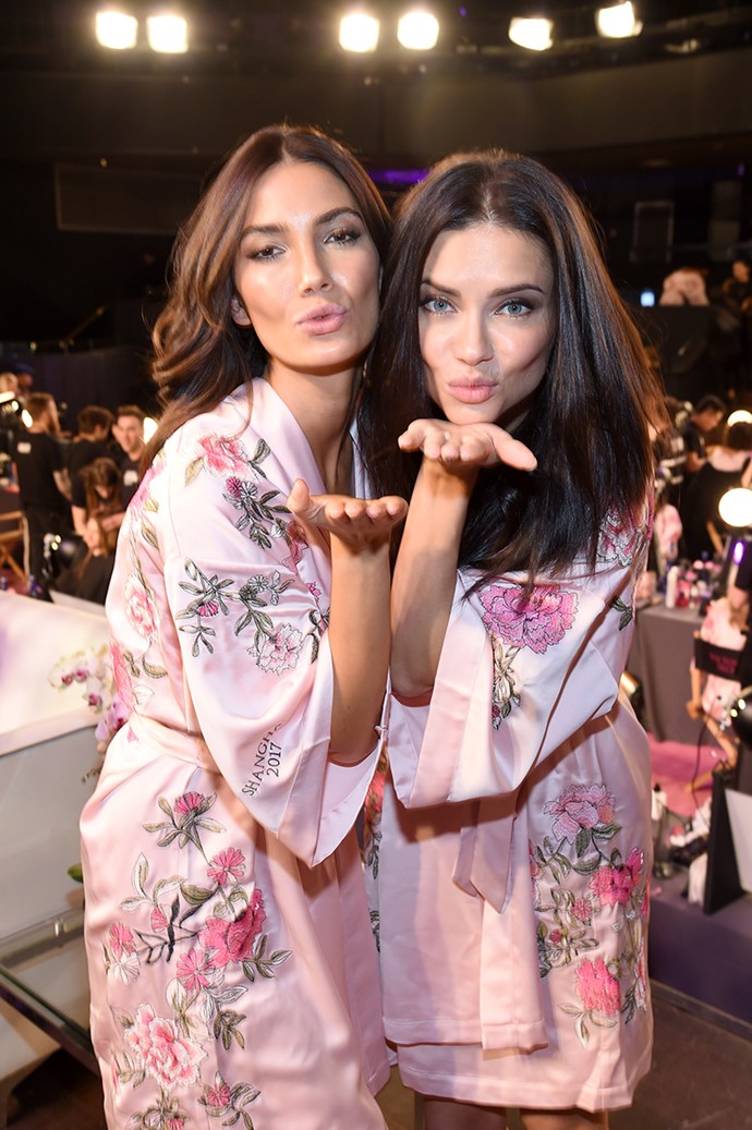 Lily Aldridge and Adriana Lima backstage at the 2017 Victoria's Secret Fashion Show.