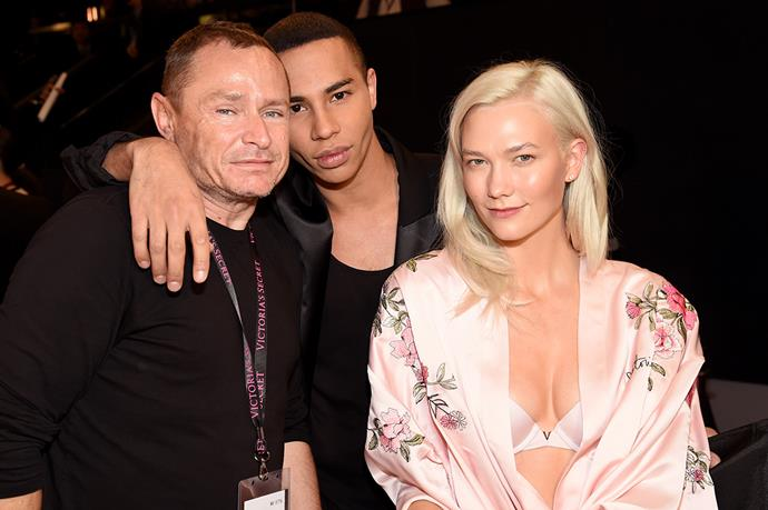 Tom Pecheux, Olivier Rousteing and Karlie Kloss backstage at the 2017 Victoria's Secret Fashion Show.