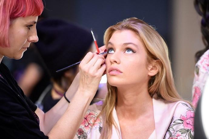 Devon Windsor backstage at the 2017 Victoria's Secret Fashion Show.