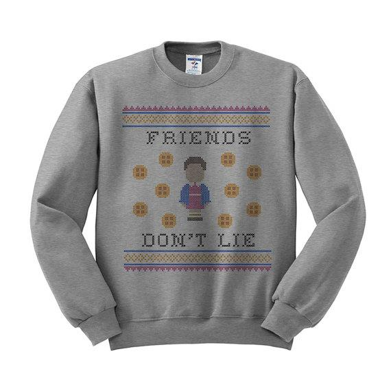 "Friends Don't Lie Jumper, $28.75 from [Etsy](https://www.etsy.com/listing/461388732/friends-dont-lie-sweatshirt-ugly-sweater|Target=""_blank"")."