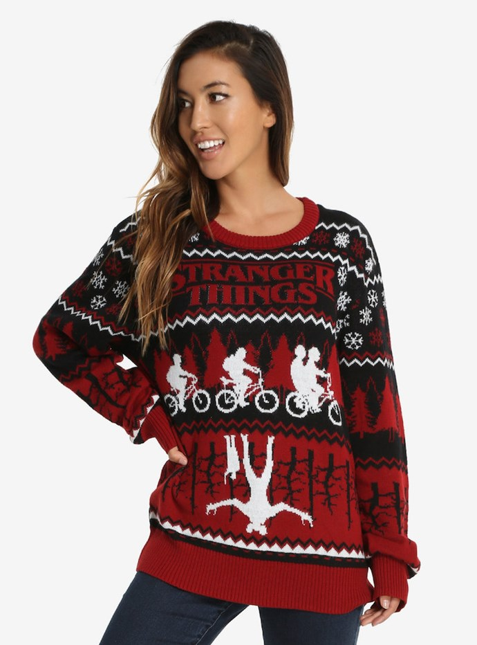 "Stranger Things Ugly Holiday Sweater, $59.90 from [Box Lunch](http://www.boxlunch.com/product/stranger-things-ugly-holiday-sweater/11089586.html?cm_mmc=AFF-_-CJN-_-4522830-_-4_9999W1_AFF_CJN_8191803_DLTOOL#start=1|Target=""_blank"")."