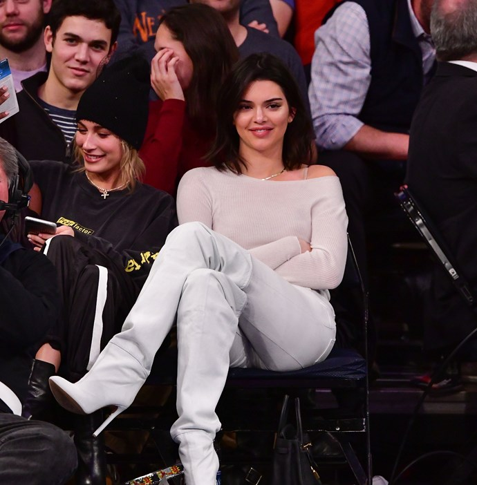 With Hailey Baldwin at the Los Angeles Clippers vs. New York Knicks game, November 20th, 2017.