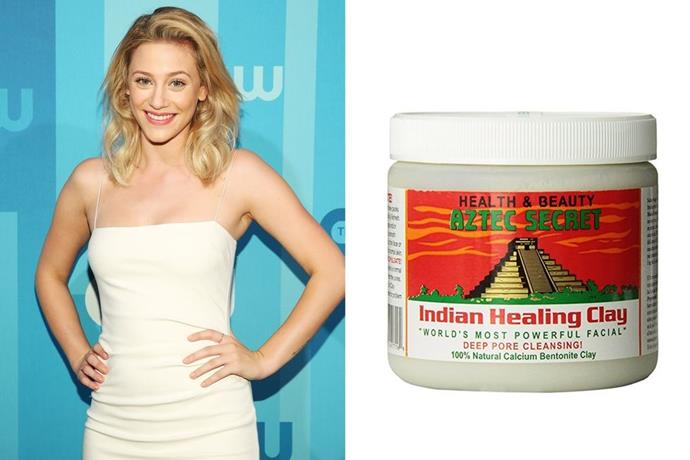 "**Lili Reinhart's Aztec Secret Indian Healing Clay Mask** <br><br> Riverdale star **Lili Reinhart** recently documented her entire skincare regime, which included this crazy-popular (and affordable!) clay mask, and few weeks later, [ELLE.com](http://www.elle.com/|target=""_blank""