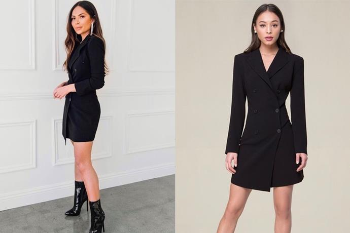 "**Marianna Hewitt's Bebe Tuxedo Dress** <br><br> I saw blogger [**Marianna Hewitt**](https://www.instagram.com/marianna_hewitt/?hl=en|target=""_blank""