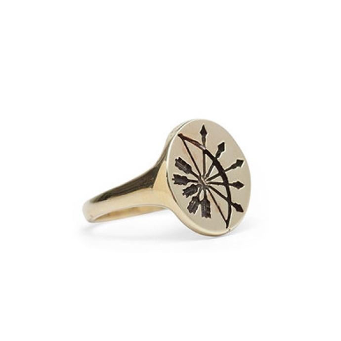 "*Sagittarius* <br><br>Ring, $162, [Talon at catbirdnyc.com](https://www.catbirdnyc.com/zodiac-ring.html|target=""_blank""|rel=""nofollow"")."