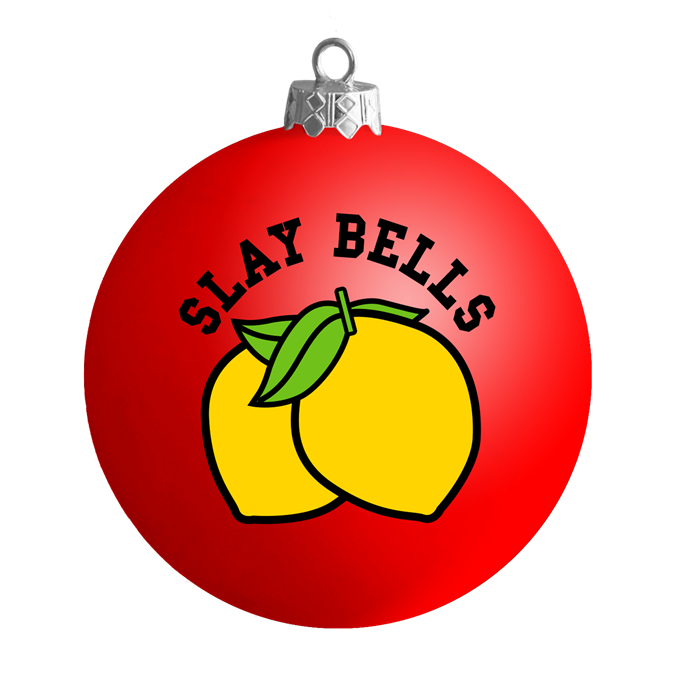 "'Slay Bells' Bauble, $16 (approx.) at [Beyonce.com](https://shop.beyonce.com/products/62215-slay-bells-red-satin-ball-ornament|target=""_blank""